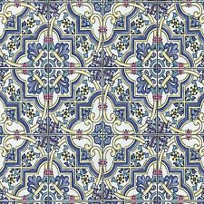 Blue Mediterranean Paste the Wall Tile Wallpaper Tiling on a Roll 13477-30