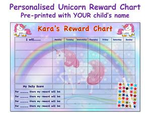Reusable Good Behaviour Reward Chart Personalised Childrens Kids Stars Unicorn