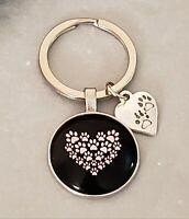 Cute Paw Print Keychain Silver/ black/ Pink Heart Shape Design & pendant