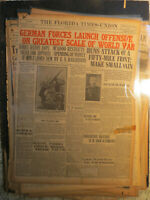 WWI German Forces Launch Greatest Offensive + U-Boats Huns 1918 Newspaper