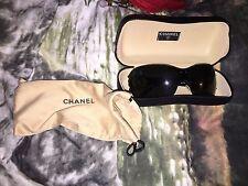 chanel boutique 100% authentic smokey frameless Logo sunglasses dust bag case