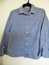Merona Blue Chambry Polka Dot  Long Sleeve  Top Shirt Blouse Sz XL
