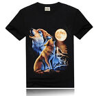 Mens 3D Printing Wolf Moon Punk Rock Short Sleeve Cotton Tee Shirt Tops Blouses