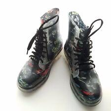 Forever Women's Fashion Lace Up Rain Boots Black Print Alyson-07 Size 7.5 EUR 37