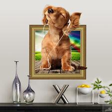 3D Dog Frame Breakthrough Wall Sticker Kids Nursery Room Decor Vinyl Removable
