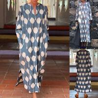 ZANZEA Women Long Sleeve V Neck Printed Maxi Dress Loose Split Dresses Kaftan