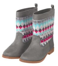 Gymboree Ice Dancer Fair Isle Boots Gray Pink Hearts Girls Nwt Size 10