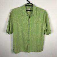 Jamaica Jaxx Hawaiian Shirt Mens Size XL Silk Green Floral Short Sleeve