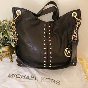 Michael Kors Leather Tote Hobo Shoulder Bag Studded Black Large 'Uptown Astor'