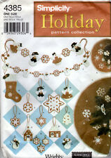 """UNCUT Simplicity Holiday Pattern Collection 4385 """"Christmas Decorations"""" Ornamen"""