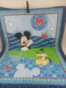 DISNEY BABY 3D Mickey Mouse Pluto Plush Reversible Crib Blanket Oh Boy - USED