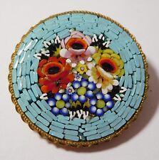 """Broche ancienne """" bouquet de fleurs """" - micromosaique"""