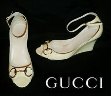 GUCCI ~ Ivory wedge open toes ~ US: 8 ; EUR: 38 ; UK: 5 * AUTHENTIC