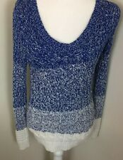 Liz Claiborne open Knit Sweaters long Sleeves Blue w White Women's Sz S stretch