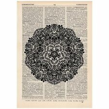 Fancy Flower Mandala Dictionary Print OOAK, Alternative Art,Unique, Gift,