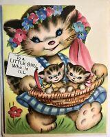 Vintage Greeting Card Get Well Tabby Cat Kittens In Basket Cute Anthropomorphic