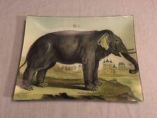 "John Derian Signed Decoupage 10""x13"" Rectangular Plate Tray Elephant"