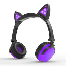 Bluetooth Wireless Headset Cat Ear Foldable Adjustable Glowing Mic Rechargeable