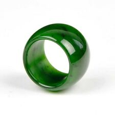 19.7mm*18mm Natural Green Nephrite Jade Wide Ring Gemstone Band us Size 10
