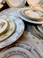 Vintage Mismatched China 12 place settings w/ Servers Dinnerware Set #14
