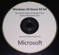 Windows Win 10 Home 64bit UK Reinstall Repair Restore Recovery Boot Disc DVD