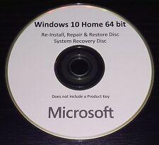 Windows Win 10 Home 64bit UK Re-Install Repair Restore Recovery Boot Disc DVD
