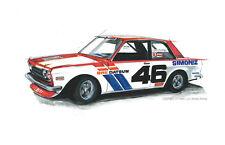 Car art print, wall art, mancave decor, datsun 510, nissan, vintage, race car