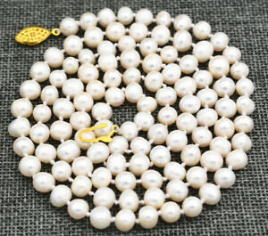 Beautiful ! 7-8mm White Akoya Freshwater Cultured Pearl Necklace 34""