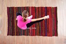 100% Cotton Handmade Chindi Indian Tassel Rag Area Rugs Yoga Mat Room Decor