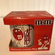 "NEW M & M Character Mug Cup White With Red 4"" tall x 3.25 diam Ceramic CUTE"