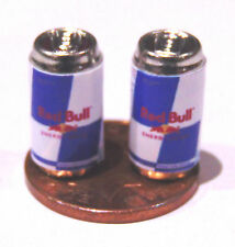 1:12 Scale 2 Empty Red Bull Drink Tin Dolls House Miniature Bar Drink Accessory