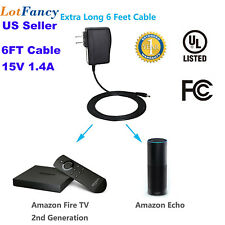 Power Adapter for Echo Fire TV 2nd 6FT Cable AC/DC Converter 100V~240V UL Listed