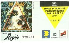 RARE / TICKET BILLET DE CONCERT - DEF LEPPARD : LIVE A PARIS ( FRANCE) 1988