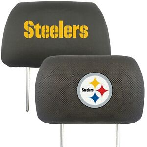 Fanmats NFL Pittsburgh Steelers 2-Piece Embroidered Headrest Covers 2-4 Day Del.