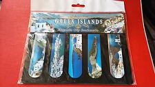 "Souvenir Greece Magnetic Clip Bookmarks ""Greek islands"" Mykonos/Santorini/Zakynt"