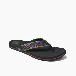 Reef Men's Newport Woven Flip Flops Sandals - Navy/Red NWT