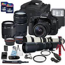 Canon EOS 80D DSLR Camera + (3) W/ 18-55mm + 75-300mm+ 500mm +650-1300mm Lenses)