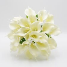 Artificial Wedding Flowers Brides Posy Bouquet in Ivory Real Touch Calla Lily
