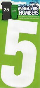 "WHEELIE BIN NUMBERS - ""5"" - STICKER - WHITE - FREE UK POSTAGE"