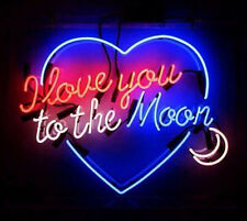 """Neon Light Glass Wall Confession Decor Poster SIGN I Love You To The Moon17""""X14"""""""