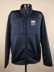 Men's USOC Team USA Apparel Navy Olympic Full Zip Long Sleeve Pullover NWT Large