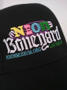 Neon BONEYARD Museum Las Vegas NV Flat Brim Style Hat Cap Black L/XL