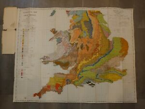 Vintage Geological map of Great Britain Sheet 2 England & Wales 2nd Edition 1957