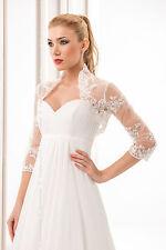 New Women Wedding Ivory/White Tulle&Lace Bolero Shrug Bridal Jacket  8 10 12 14
