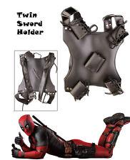 Dead Pool Twin Blade Sword Frog Holder Back Holster Halloween Costume PK-6186