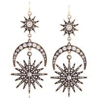 Women  Rhinestone Crescent Moon Sun Dangle Drop Earrings Jewelry
