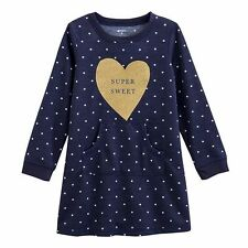 "Childrens Girls Carter's ""Super Sweet"" Nightgown Navy/Gold Size 4-5"