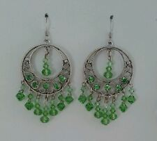 Light Green Drop Earrings made with vintage circular swarovski pendant &crystals