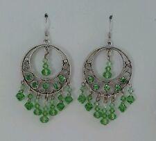 Swarovski Light Green Crystal Drop Circle Pendant Earrings-Social, Gala, Bridal