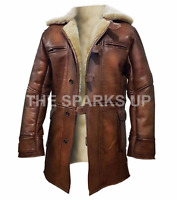 Dark Knight Rises Bane Real Leather Shearling Brown Ginger Trench Coat BIG SALE